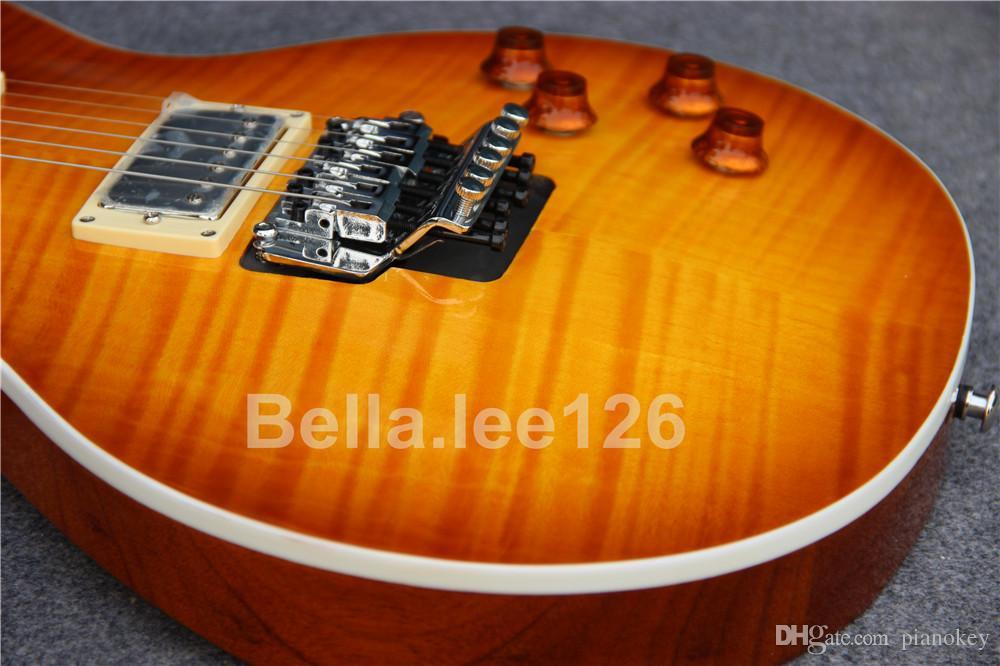 Venda al por mayor la guitarra popular del color del resplandor solar de la miel, tuerca de fijación, sistema del tremolo, guitarra eléctrica estándar de 60 estilos