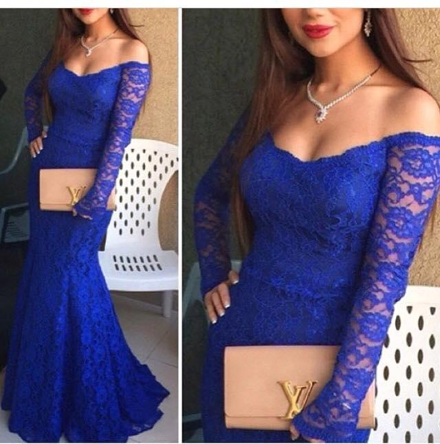 Королевский синий сексуальные кружевные платья Платья выпускного вечера 2016 русалка с длинным рукавом вечерние платья с плеча халат де суаре longue женщины леди