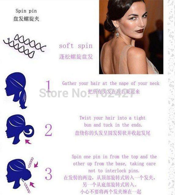 Kadınlar Kız Spiral Spin Vida Pin Sihirli Barrette Saç Klipler Sopa 10 ADET 1 Takım