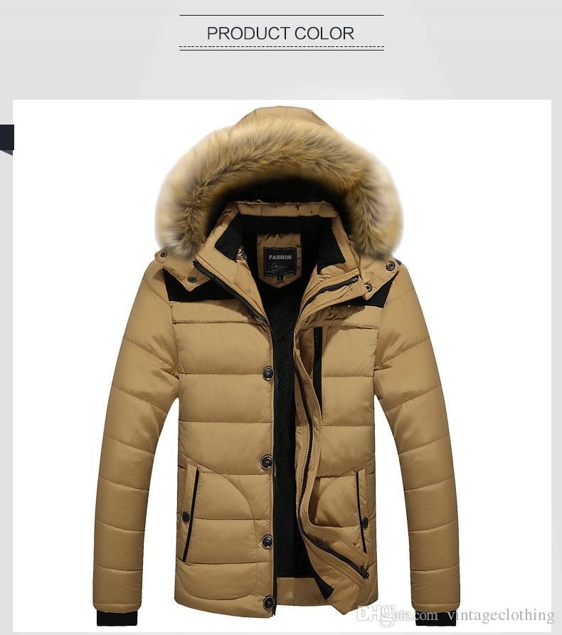 Alta Qualidade Moda Inverno Zipper Grosso Blusão Gola De Pele dos homens Casaco Outwear Quente Para Baixo Casaco dos homens Jaqueta Ao Ar Livre Longo