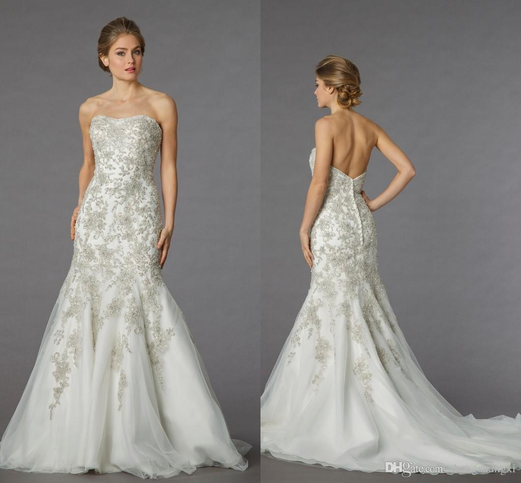 2015 Danielle Caprese Luxurious Mermaid Wedding Dresses Strapless ...