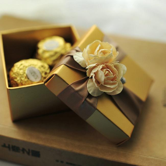 Gold square box with ribbon flower decoration wedding favor golden gold square box with ribbon flower decoration wedding favor golden color gift jewelry boxes brown favor boxes chinese gift boxes from beautiefactory negle Choice Image