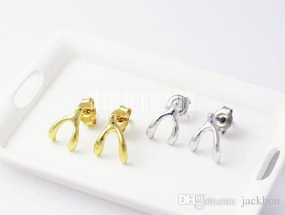 - S009 Gold Silver Cute Wishbone Stud Earring Lucky bone Stud Earring Tiny Wish Bone Stud Earrings for Women Girls Jewelry