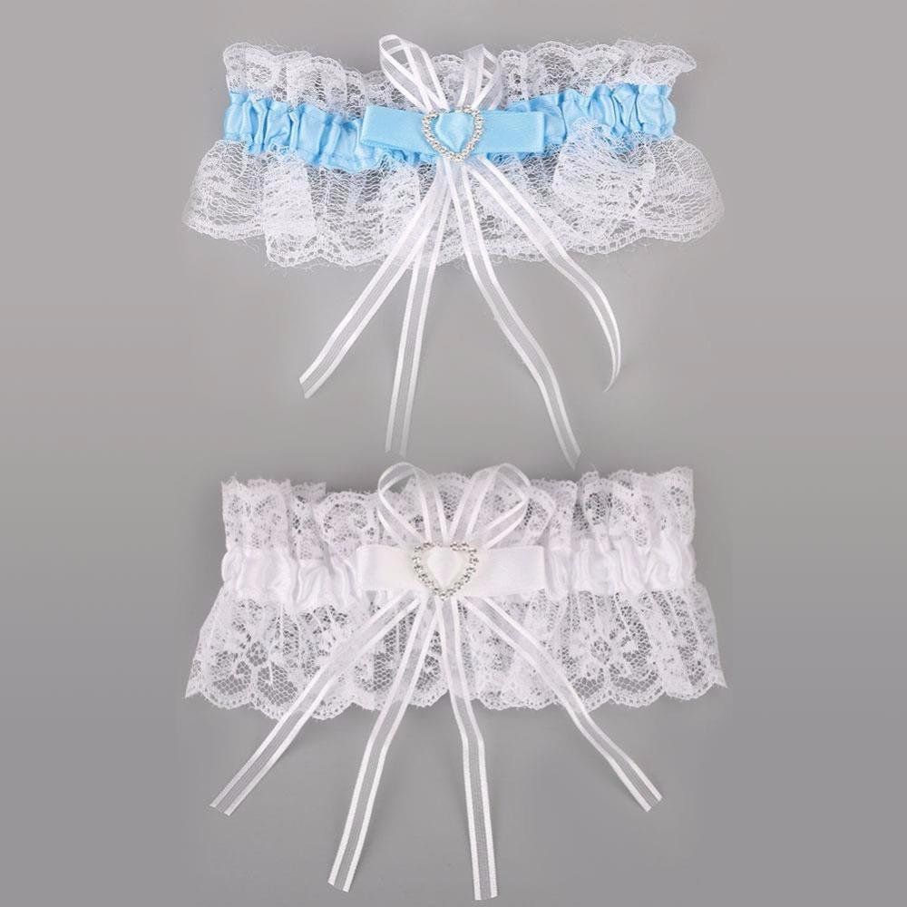 Sexy Lace Bowknot Giarrettiera Donna Wedding Party Nuziale Lingerie Lace Belt femminile a forma di cuore con strass Giarrettiera
