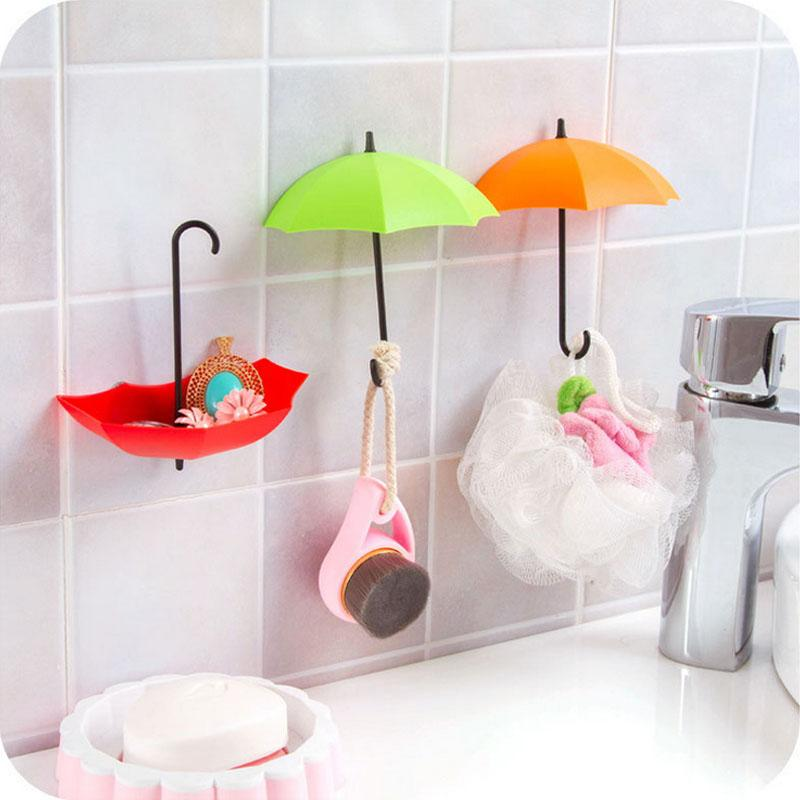 Bon 2018 Diy Umbrella Storage Hook Self Adhesive Wall Door Key Holder Sticky  Multicolor Hooks Hanger Organzier Storage Home Decoration Wall Stickers  From ...