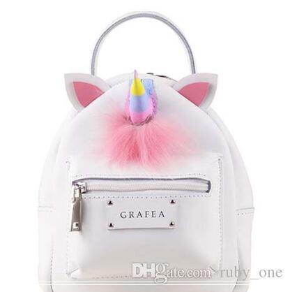 3a7fdb6ece00 Korean Style PU Unicorn Backpack Cartoon Colorful Unicorn Shoulder Bag Kids  Rainbow Unicorn School Bag Teenager Handbag CCA8171 Black Backpack Camera  ...