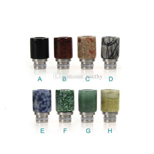 Grande qualità 510 Drip Tip E Sigarette Carving Art Glass Drip Tip Giada pietra Drip Tip con acciaio inossidabile Bore Atomizzatore Bocchini