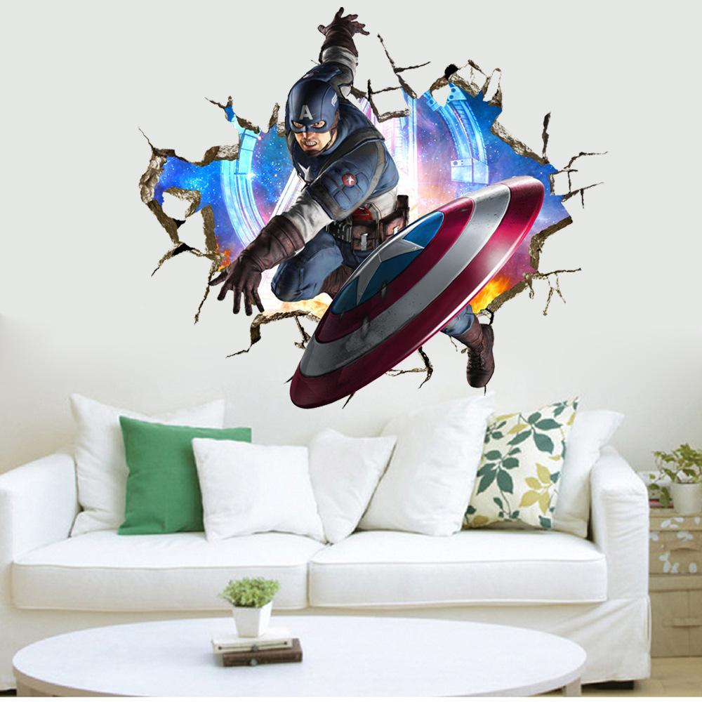 3d the avengers wall sticker captain america wall decal vinyl 3d the avengers wall sticker captain america wall decal vinyl cartoon stickers kids rooms nursery removble mural art home decor amipublicfo Gallery
