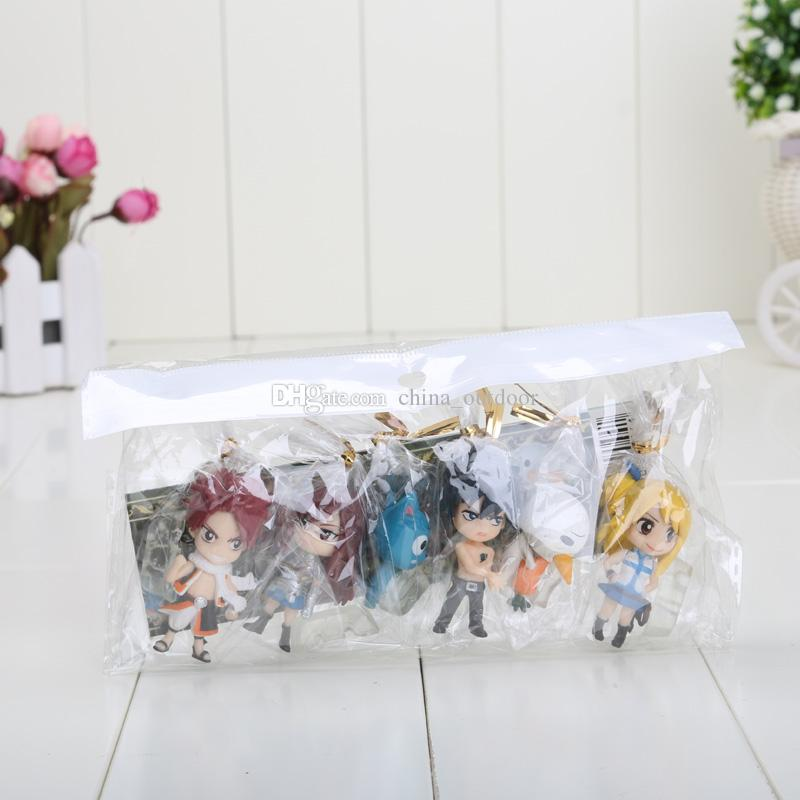6cm Anime Fairy Tail PVC Figure Model 6 pezzi / set Natsu / Grey / Lucy / Erza Retail