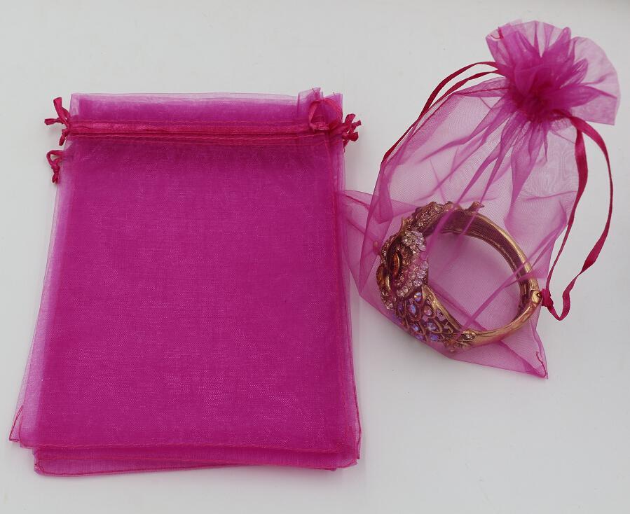 Vente chaude ! Rose Rouge Organza Bijoux Sacs Pochette de cadeau pour les faveurs de mariage, perles, bijoux 7x9cm 9X11cm 13 x 18 .17x23cm. 20x30 cm 316