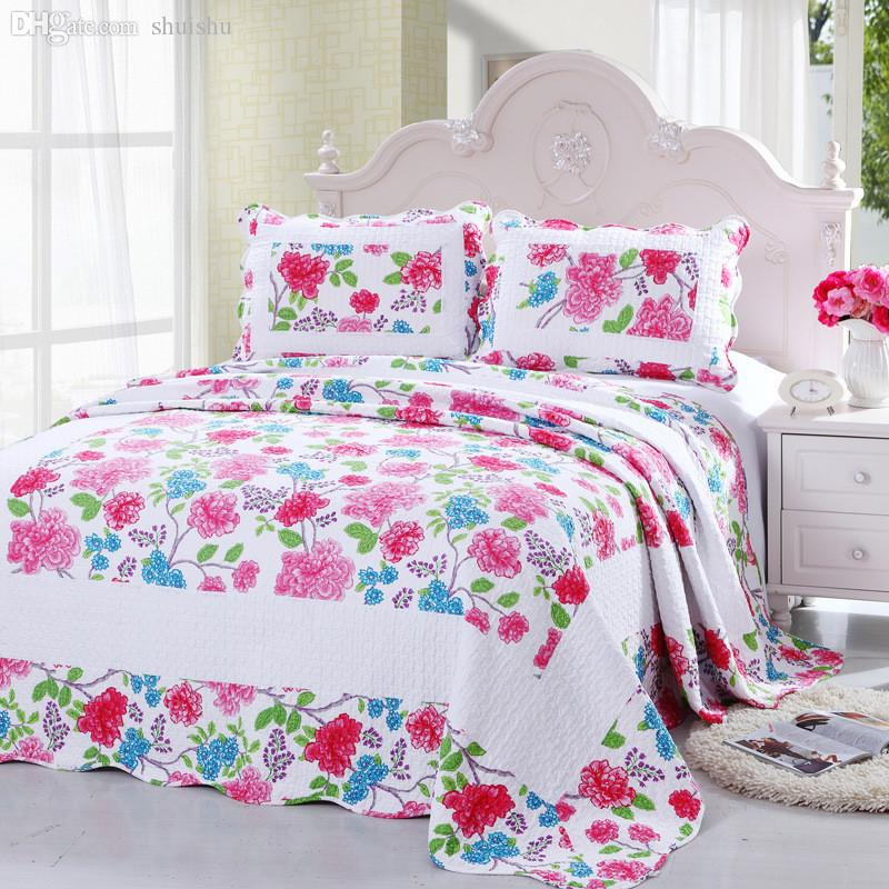 Wholesale Cotton Summer Blanket Quilted Counterpane Floral Patchwork Quilt Bed  Sheet Set By Pillowcase Adult Bed Quilt Cover Bedspread Cover Diaper Quilt  ...