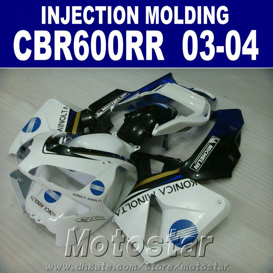 Kit de carenado negro blanco para el molde de inyección de plástico HONDA 2003 2004 CBR 600RR 03 04 Kit de carenado de plástico ABS CBR600RR