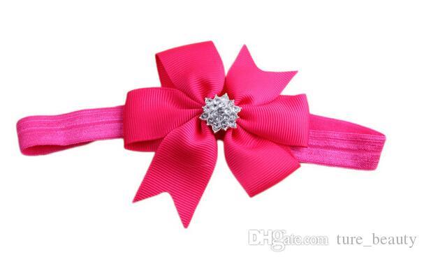 Bebé arco Rhinestone Headband Hair Bowknot Havebands Infant Cabello Accesorios Tocado Flor /