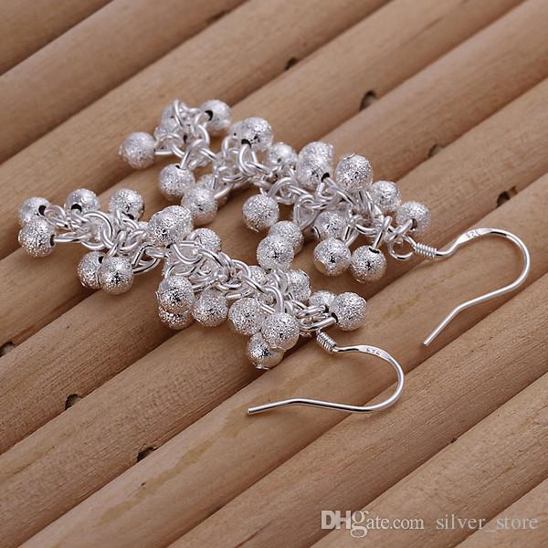 A estrenar plata esterlina Pendientes de cuentas de uva helada DFMSE007, pendientes de plata 925 para mujer colgantes de araña 10 pares mucho