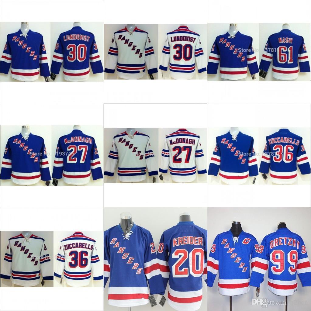 2019 Youth New York Rangers Hockey Jerseys 30 Henrik Lundqvist 36 Mats Zuccarello 61