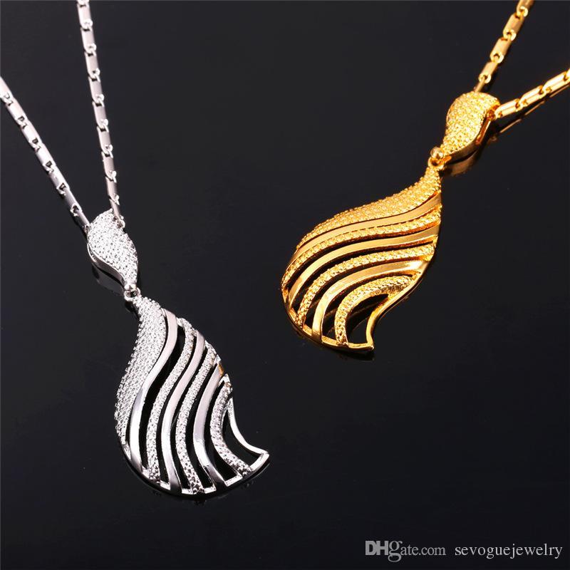 Collar de mujer U7 Statement Conjunto de pendientes 2015 Nuevo 18K Real Gold / Platinum Platinum Trendy Beautiful Gold Conjunto de joyería fina Bohemian 7-PE992