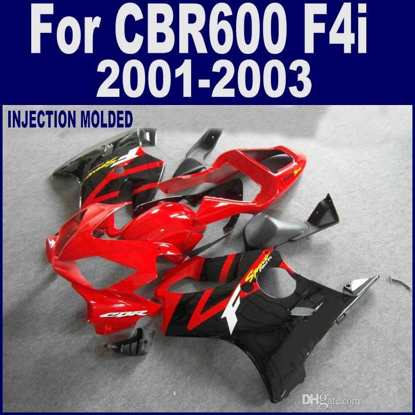100 % 주입 Red Black Body Work Honda Fairing Kit CBR 600 F4i 01 02 03 CBR600 F4I 2001 2002 2003 페어링