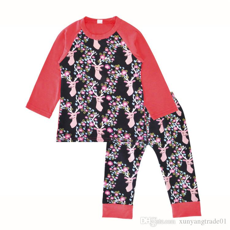 INS Baby Clothes Xmas Christmas Girls Set Autumn Winter Deer Flowers Printed Long Sleeves T-shirt Pants Leggings Kids Clothing Sets 195