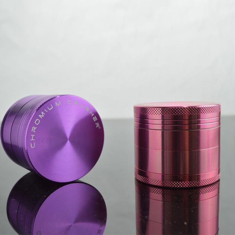 Chromium Crusher Grinder for Tobacco 4-layers Top Hard Smoking Grinder Aluminum Mental Grinders 50x40mm Diameter Dry Herb Grinders