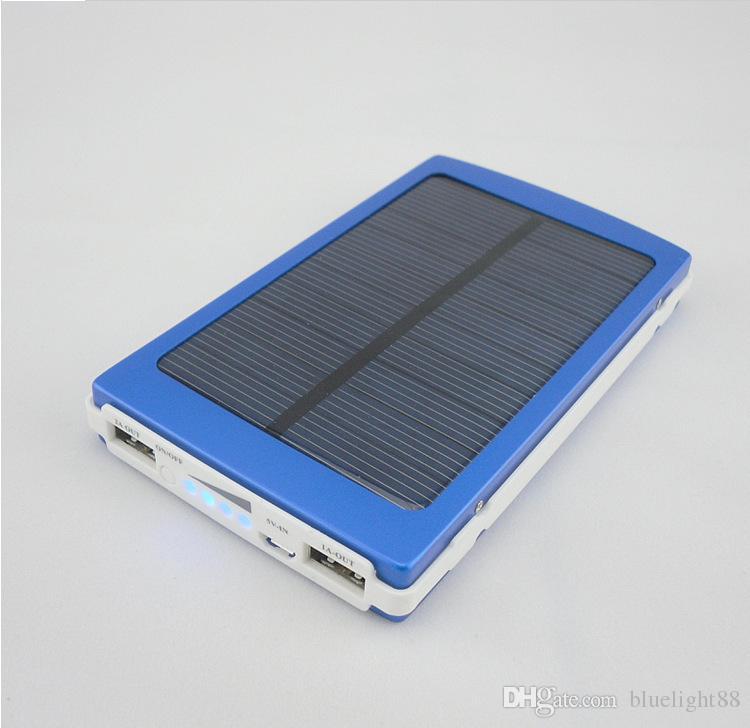 Atacado -Nova 20000 mAh Painel de bateria solar externa carregador duplo 20000mAh Portos carregamento solar 5 cores escolhidas para