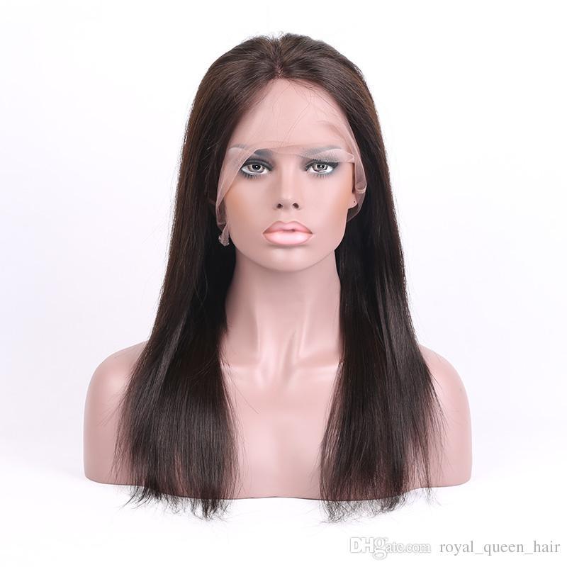 Full Lace Perruques de Cheveux Humains Meilleur Vierge Brésilienne Péruvienne Malaisienne Indien Cambodgien Droite Dentelle Frontale Perruques Pour Les Femmes Noires Naturel Couleur