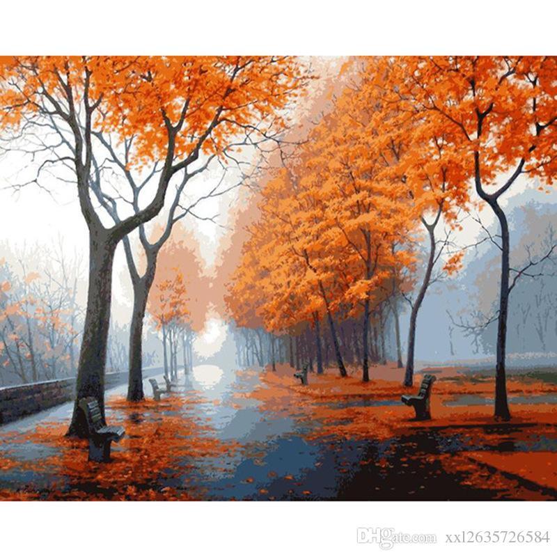Sonbahar Yağmur Sonrası Sonra Sayılar Tarafından Diy Dijital Yağlıboya Soyut çizim 40x50 Cm Rakam Boyama Akrilik Tuval