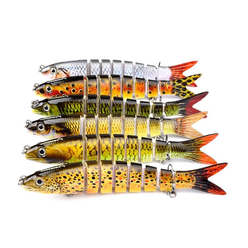 Yüksek Quanlity Marka Derin Yüzme wobbler bas Balıkçılık yem 13.5 cm 19g 12 Renkler 8 segmentleri Lazer cazibesi kanca