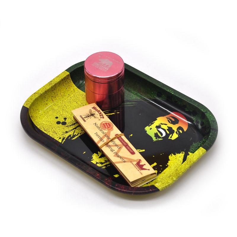 Новые горячие прокатки лотки металла S размер 18 см* 14 см *2 см Боб Marely доллар картина Зеленый лист табака лоток рулон сигареты другой размер пластины
