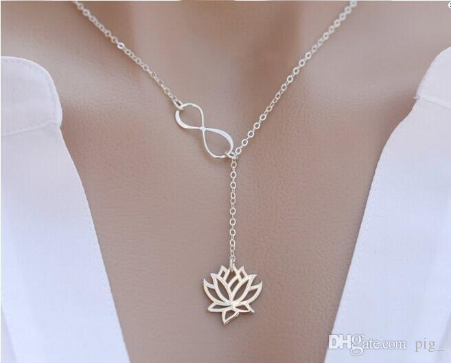 """Fashion Infinity Lotus Lariat Pendant Necklace for Women 18"""" Link Chain Plant Lotus Flower Jewelry Necklaces"""