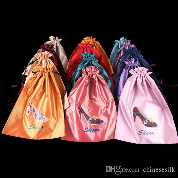 228d6c8101 High Quality Women Travel Shoe Cover Storage Bags with Lined Silk Embroidered  Drawstring Packaging Pouches 14.5