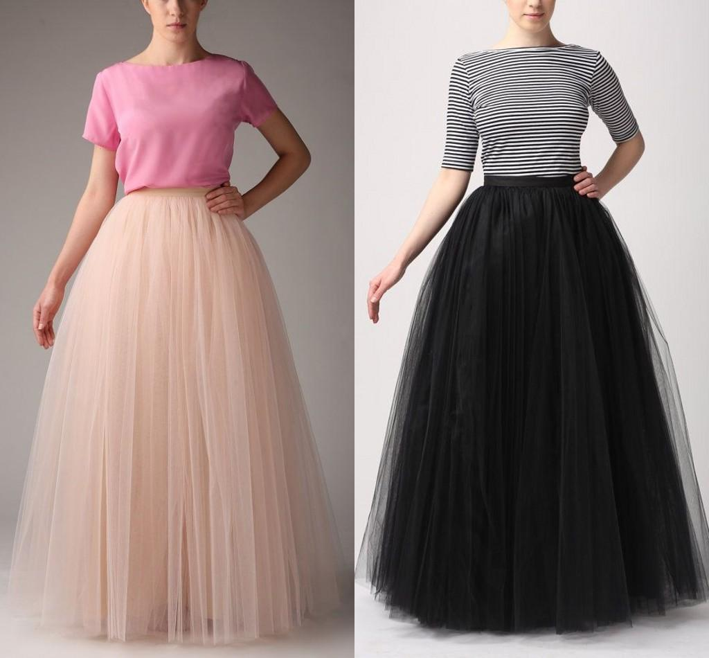 fashion simple women skirts all colors 5 layer floor length 2015