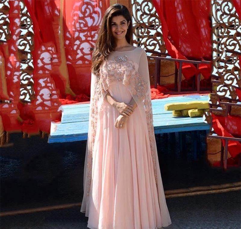 2018 Cheap Light Pink Evening Dress A Line With Long Wraps Back ...