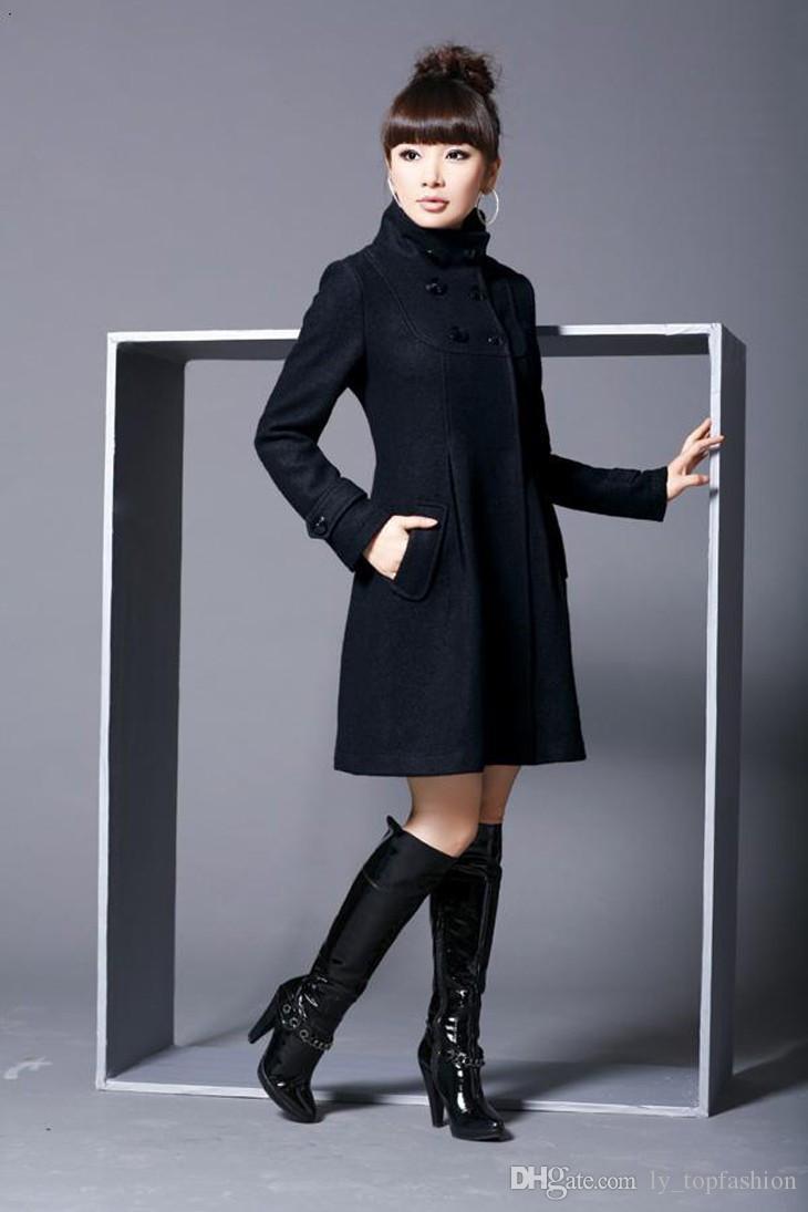 Ayrılabilir Şapka ile kadın Tortum Kış Katı Ceket Kadın büyük Boy Kapşonlu Yün Karışımları Coats Siyah Kırmızı Gri XS XXXL XL
