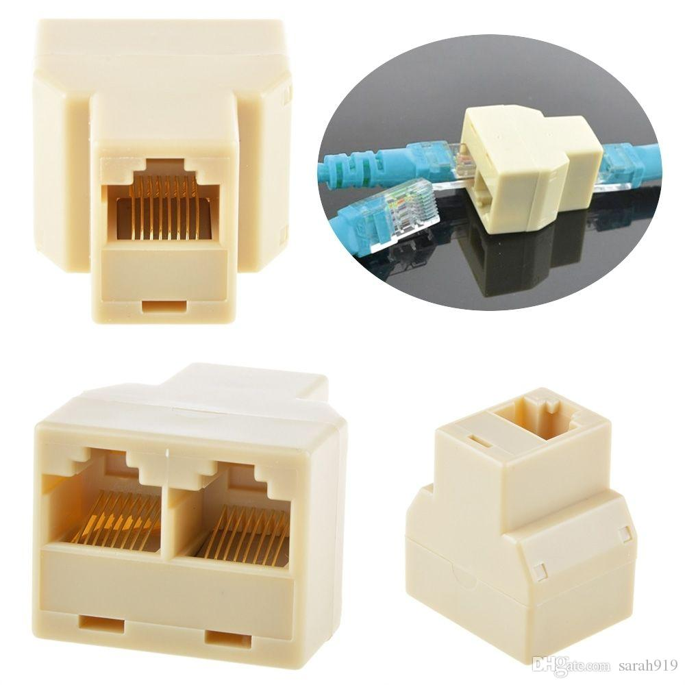 Rj45 1 To 2 Lan 3 Way In Line Network Cable Splitter Extender Plug ...