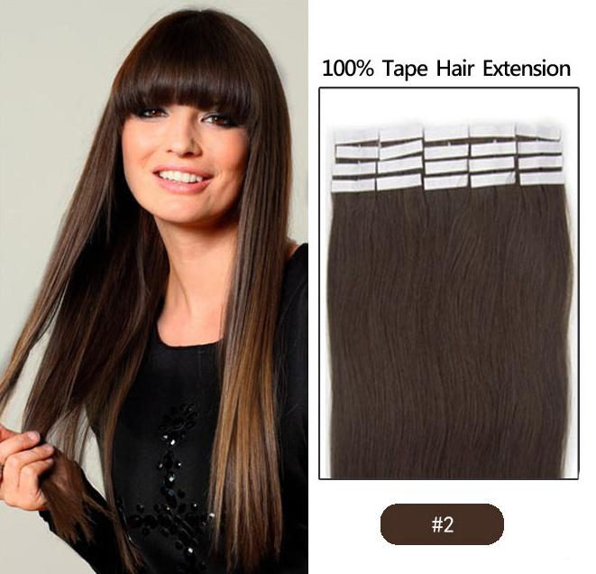 i Capelli indiani Skin Weft Remy Double Sided Nastro in su Extensions Human Hair /