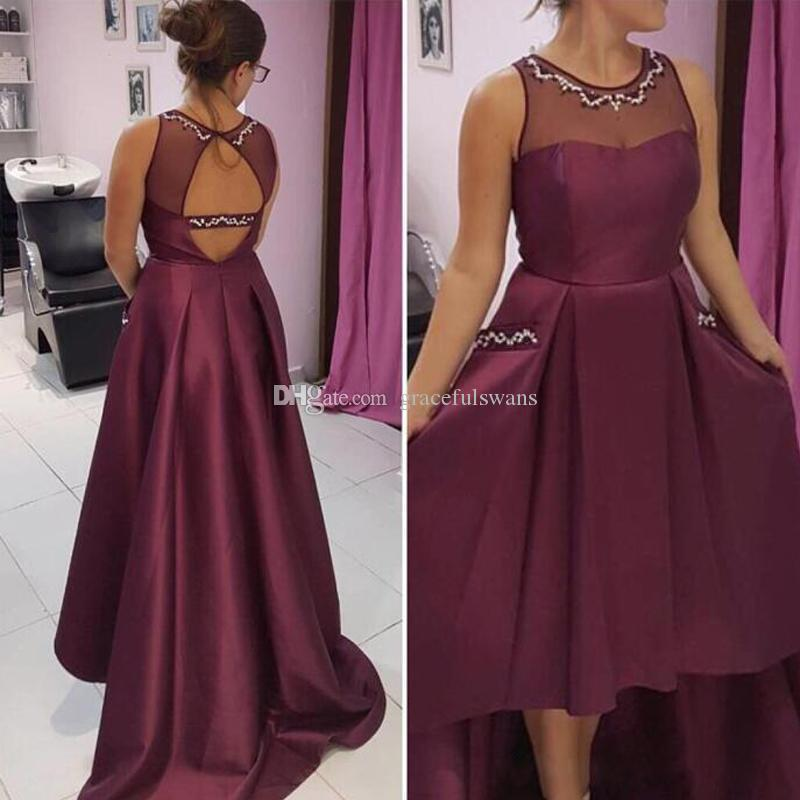 New Arrival High Low Prom Dress Beaded Sheer Jewel Neck Open Back Prom Gowns Sexy Long Evening Party Gowns with Pockets