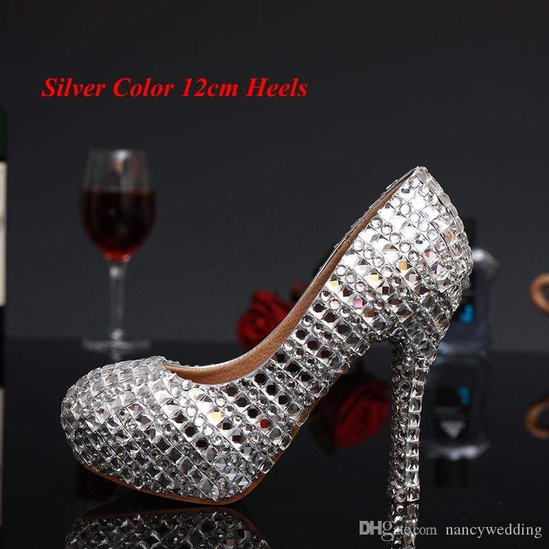 New Fashion Silver Woman Platform Shoes Crystal High Heels Shoes Crystal Rhinestone Round Toe Lady's Party Proms Plus Size 34 - 43
