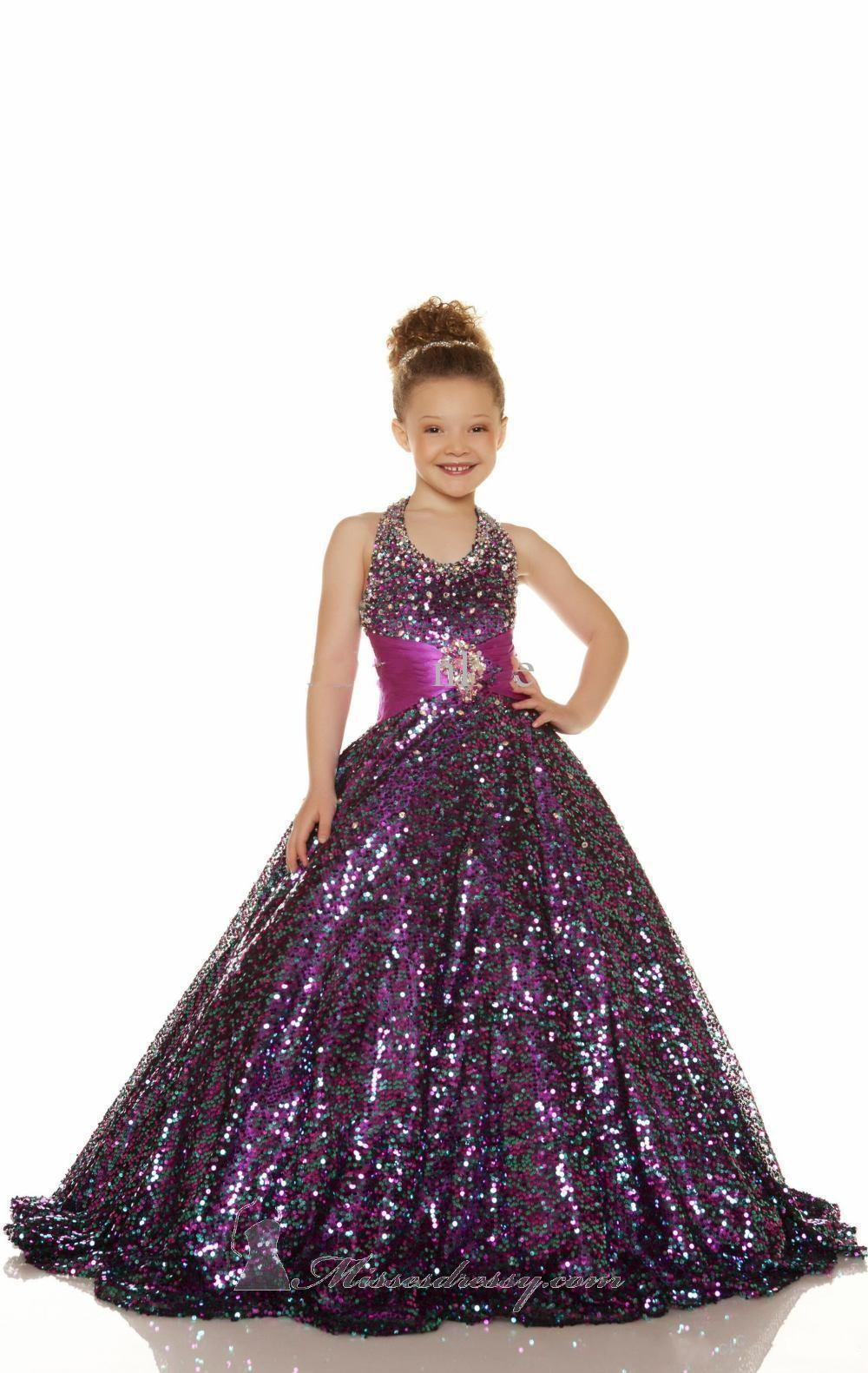 2014 Sexy Gold Purple Sequins Beaded Girls Pageant Gowns Halter ...