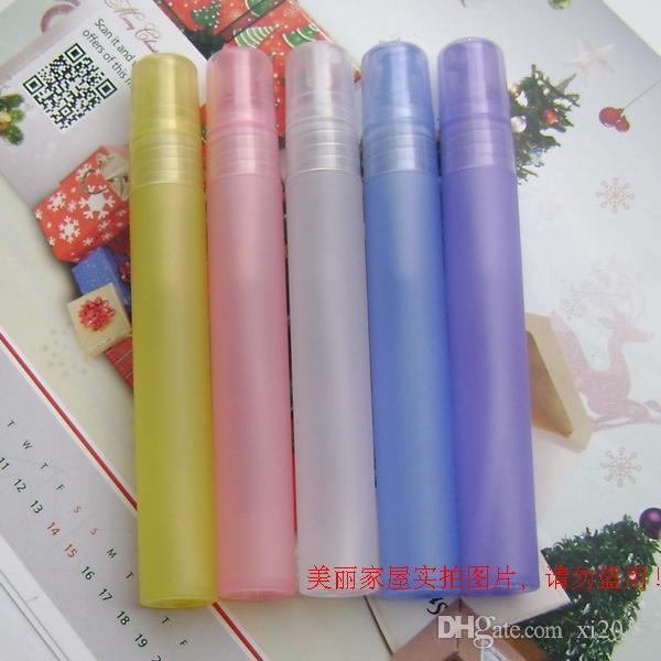 Trasporto libero 10ml all'ingrosso di plastica Spray bottiglia riutilizzabile bottiglia bottiglia di profumo con PP Spray Pump