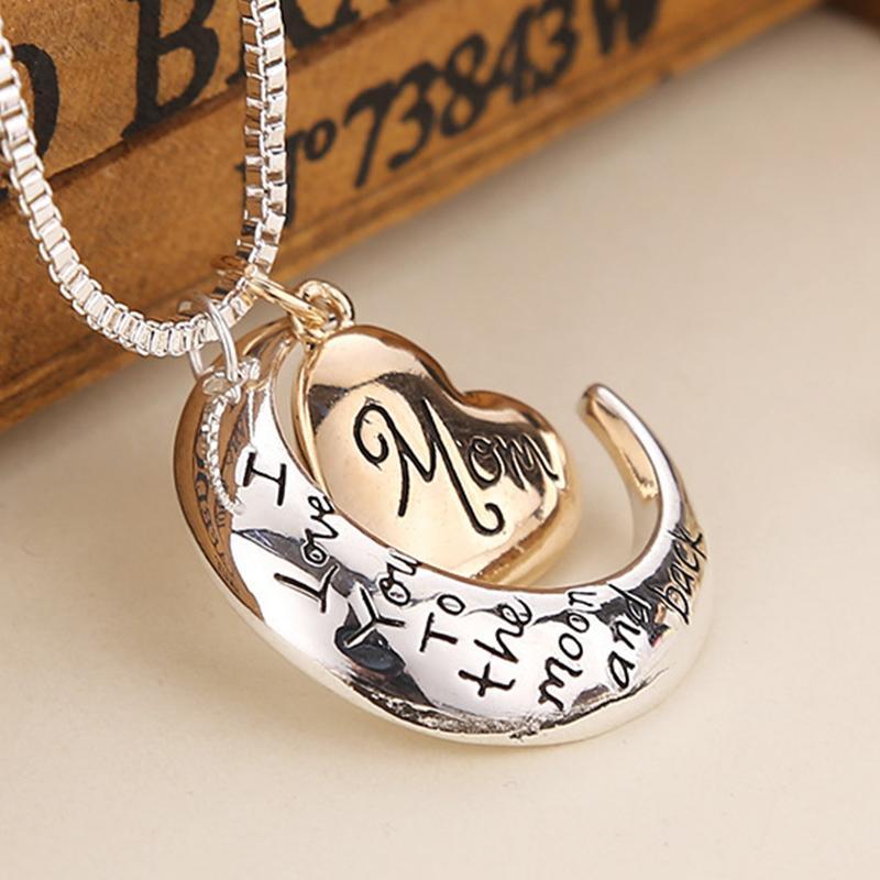 2018 bijoux de haute qualité coeur je t'aime à la lune et retour maman pendentif collier cadeau de fête des mères en gros bijoux de mode ZJ-0903221