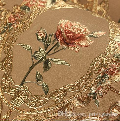 New Luxury European Golden Floral Wallpaper Luxury Rose Flowers