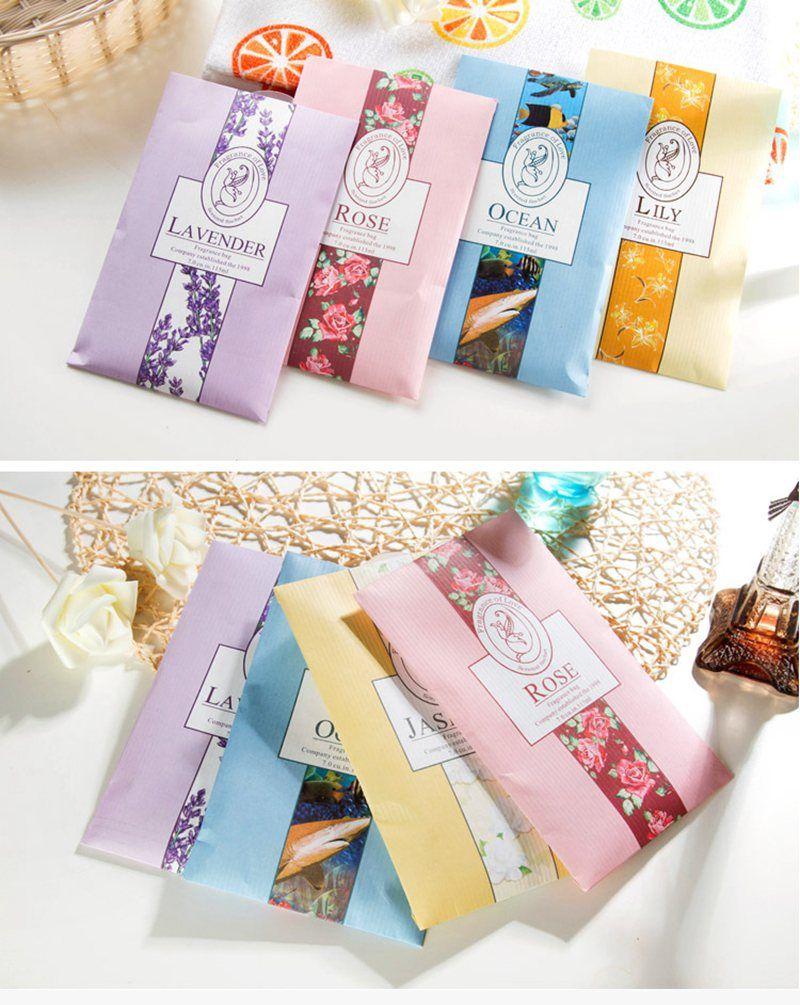 Natural Smell Incense Wardrobe Sachet Air Fresh Scent Bag Perfume Vanilla Lavender Rose Jasmine Lily flower WYQ