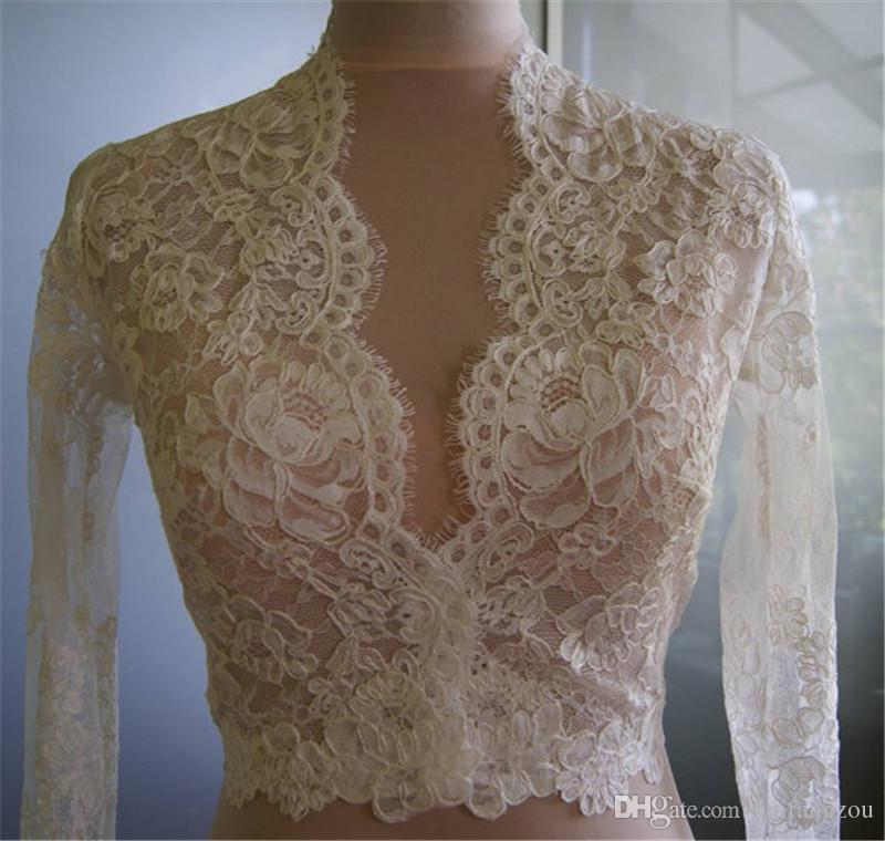Ucuz Gelin Mütevazi Alencon Dantel Kristaller V Neck Kılıf Düğün Gelin Bolero Gelinlik için Long Sleeve Dantel Applique Ceket