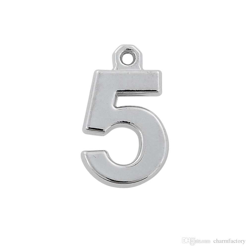 Lucky Number 3/4/5 Charms Pendant For Birthday Gifts Furture Sign Jewelry Custom Findings&Components Rhodium Plated