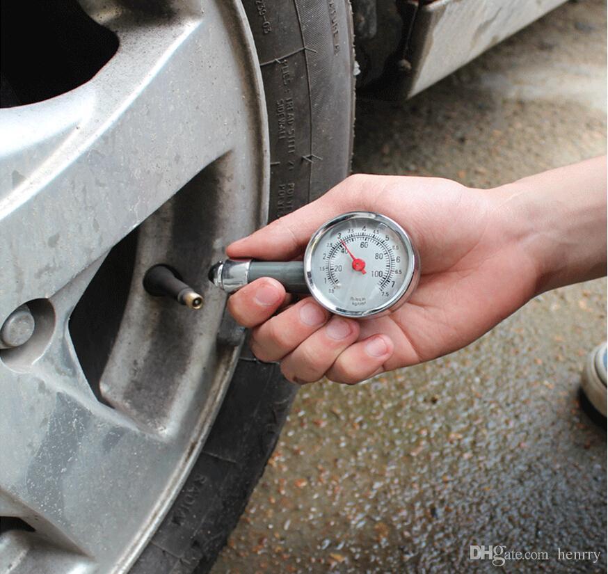Indicador de presión de neumáticos portátil Mini Metal para automóviles Motos Bicicletas LB / SQ.IN KG / CM2 Propietarios necesarios