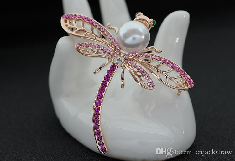 Fashion dragonfly brooch large pearl diamond dragonfly brooch factory custom wholesale and retail outlets good quality