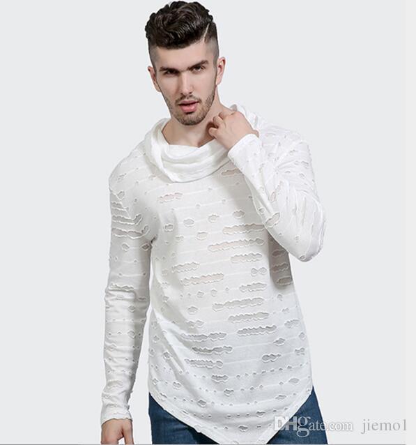 Moda Uomo Personality Ripped Hole Nightclub Manica Lunga Dolcevita T Shirt Hip Hop Harajuku Casual Tee Shirts Swag Vestiti Kanye