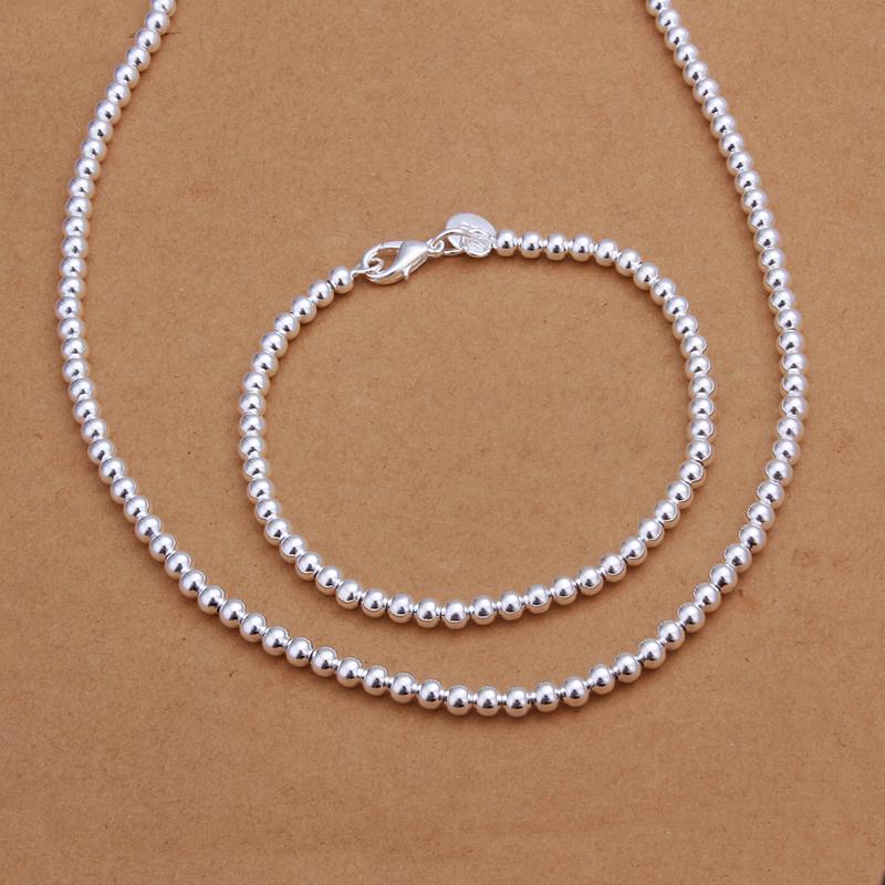 Мода комплект ювелирных изделий 925 посеребренные 4 мм бусины ожерелье браслет для womanTop качество подарок на день рождения бесплатная доставка