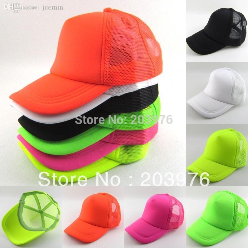 ... cheap wholesale neon fluorescent mesh plain blank trucker baseball hat  cap leather hats the game hats 4c8661b6564