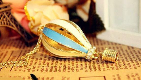 New Fashion Women Colorful Jewelry Aureate Drip Hot Air Balloon Pendant Long Necklace Valentine gift